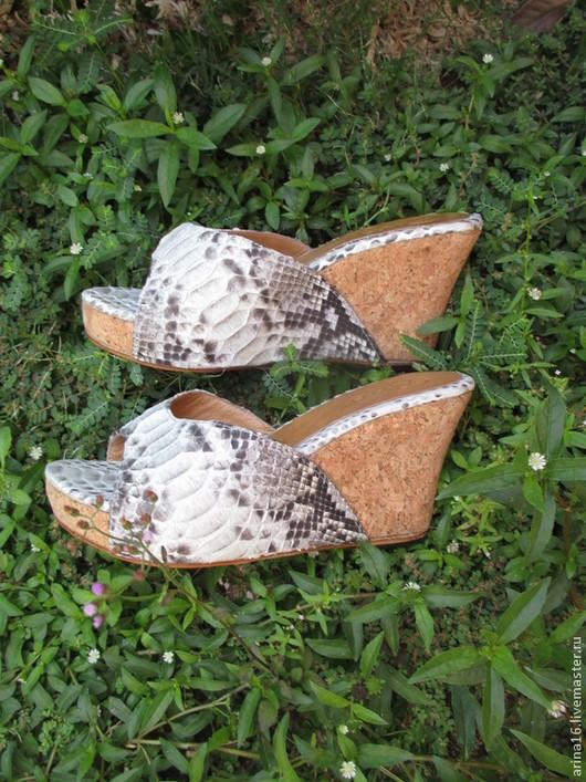 Обувь ручной работы. Ярмарка Мастеров - ручная работа. Купить Сабо из питона.. Handmade. Серый, сабо, обувь из питона