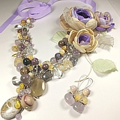 Украшения handmade. Livemaster - original item Morning Dreams. Necklace, earrings, brooch, fabric flowers.. Handmade.