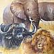 Слон, носорог, буйвол, лев, тигр - дикие животные Салфетка для декупажа Салфетка пр-во Германия Декупажная радость