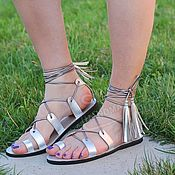 Обувь ручной работы handmade. Livemaster - original item NEW!   Sandals gladiators leather Silver. Handmade.