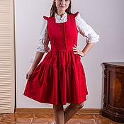Одежда handmade. Livemaster - original item Red corduroy sleeveless dress with zip. Handmade.