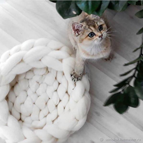 Аксессуары для кошек, ручной работы. Ярмарка Мастеров - ручная работа. Купить Гнёздышко для котёнка из натуральной шерсти. Handmade. Лежанка