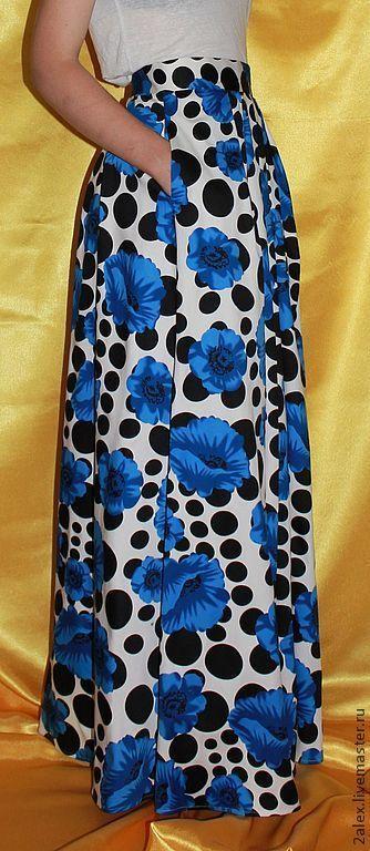 """Юбки ручной работы. Ярмарка Мастеров - ручная работа. Купить юбка со складками длинная """"Цветочная поляна"""". Handmade. Цветочный"""