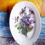 Посуда ручной работы. Ярмарка Мастеров - ручная работа Тарелочка овальная Фиалки. Handmade.