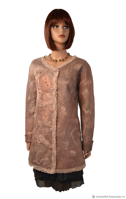 Felted wool long jacket beige ' Bio-veste', Cardigans, Mulhouse,  Фото №1