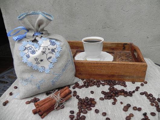 Кухня ручной работы. Ярмарка Мастеров - ручная работа. Купить Мешочек для кофе. Handmade. Серый, эко-стиль, романтичный подарок