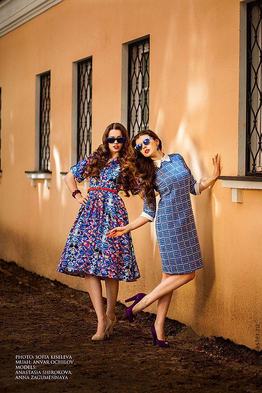 """Платья ручной работы. Ярмарка Мастеров - ручная работа. Купить Платье """"Вероника-геометрия"""". Handmade. Синий, абстрактный, платье, ретро"""