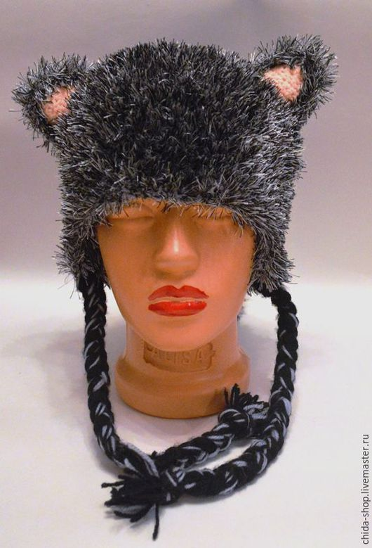"""Шапки ручной работы. Ярмарка Мастеров - ручная работа. Купить Шапка """"Кошка"""". Handmade. Серый, шапка, вязаная шапка"""