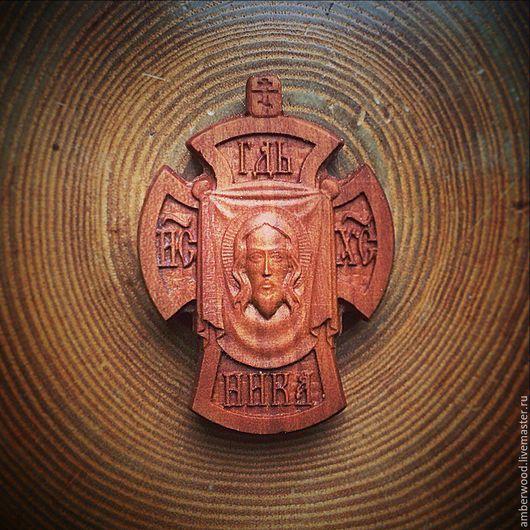 Кулоны, подвески ручной работы. Ярмарка Мастеров - ручная работа. Купить Крест Спас. Handmade. Резьба по дереву, православие