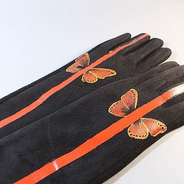"Accessories handmade. Livemaster - original item Перчатки из эко-замши ""Линия"". Handmade."