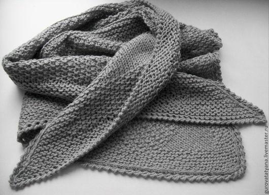 Шали, палантины ручной работы. Ярмарка Мастеров - ручная работа. Купить Мини-шаль (платок) вязаная серого цвета из полушерсти Италии. Handmade.