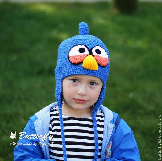 Шапки и шарфы ручной работы. Ярмарка Мастеров - ручная работа. Купить Шапка Angry Birds синяя птица. Handmade. Синий