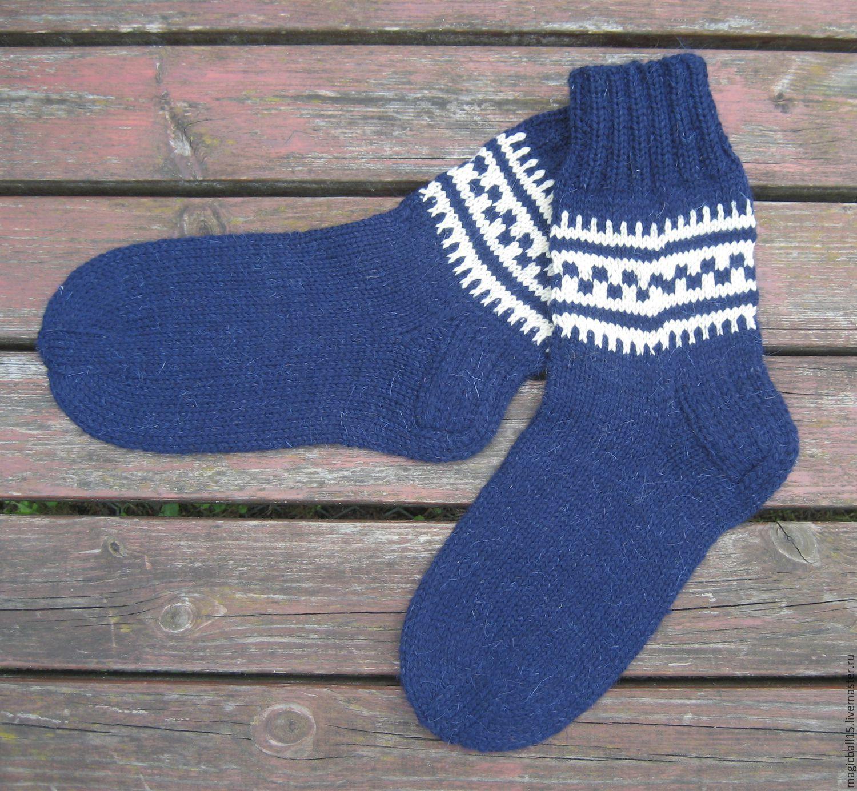 Носки вязаные шерстяные мужские с орнаментом. Индиго ...