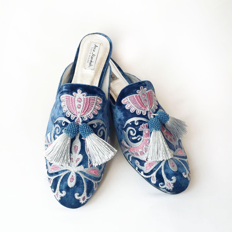 """Обувь ручной работы. Ярмарка Мастеров - ручная работа. Купить Мюли """"Восточная сказка» - голубые. Handmade. Цветы, вышивка ручная"""