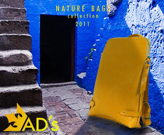 Спортивные сумки ручной работы. Ярмарка Мастеров - ручная работа. Купить Рюкзак кожаный Nature Yellow. Handmade. Сумка женская