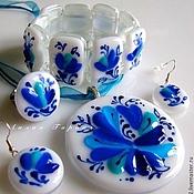 Украшения handmade. Livemaster - original item set of glass fusing in love with cobalt. Handmade.