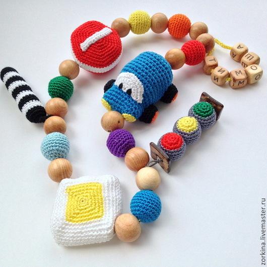 Слингобусы ручной работы. Ярмарка Мастеров - ручная работа. Купить Развивающие детские радужные игровые бусы для мальчика (слингобусы). Handmade.