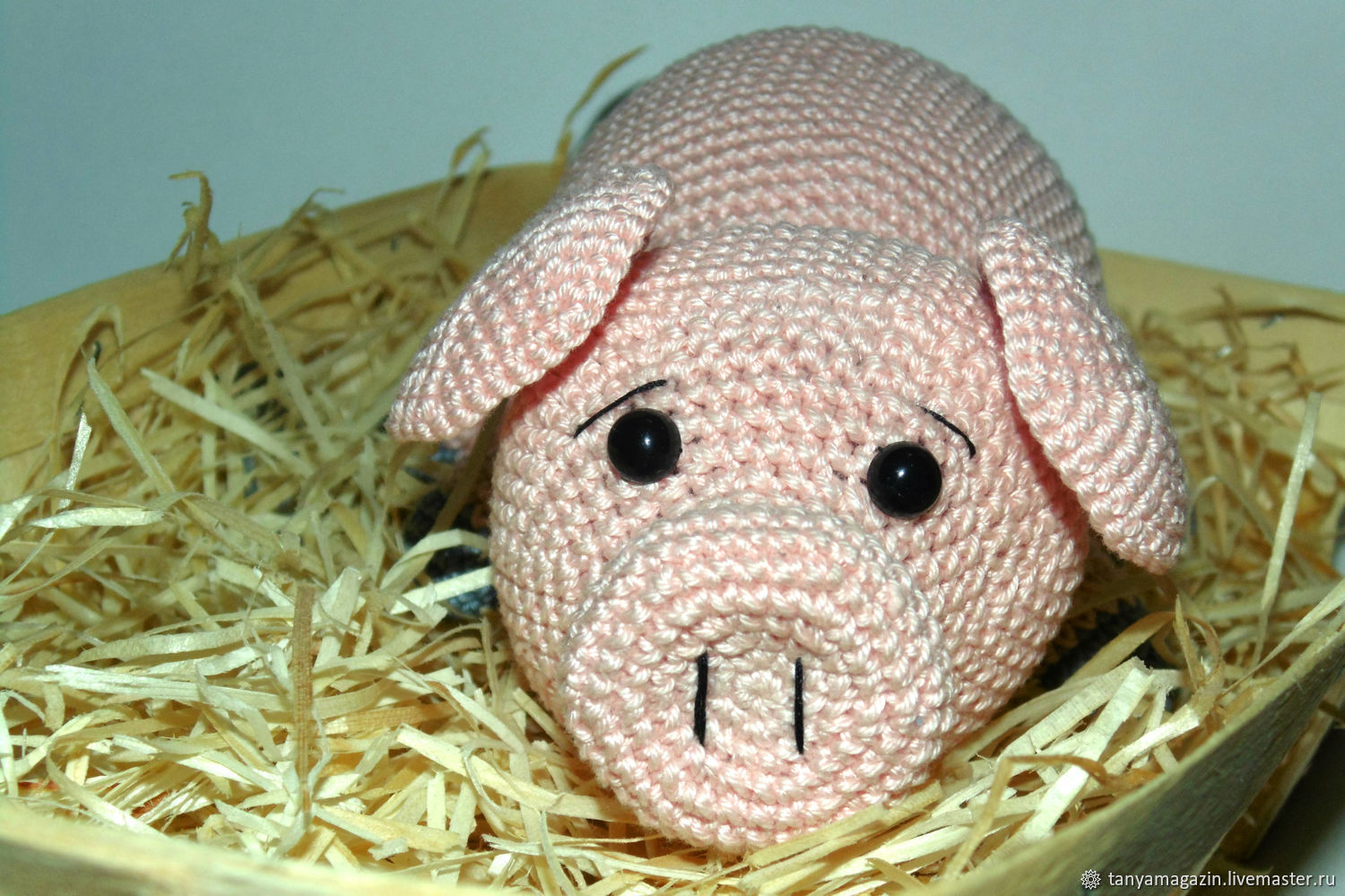 Knitted pig-couch potato. Pink pig, Stuffed Toys, Sarapul,  Фото №1