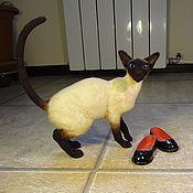 Куклы и игрушки handmade. Livemaster - original item felted cat,Siamese