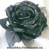 Украшения ручной работы. Ярмарка Мастеров - ручная работа Черно-белая роза из ткани. Handmade.