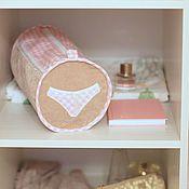 Для дома и интерьера ручной работы. Ярмарка Мастеров - ручная работа Органайзер для нижнего белья. Нежно розовый, клеточка. Handmade.