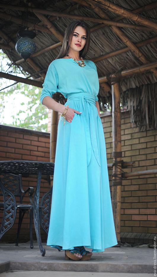 """Платья ручной работы. Ярмарка Мастеров - ручная работа. Купить Платье длинное из натуральной ткани """"Мята"""". Handmade. Мятный"""