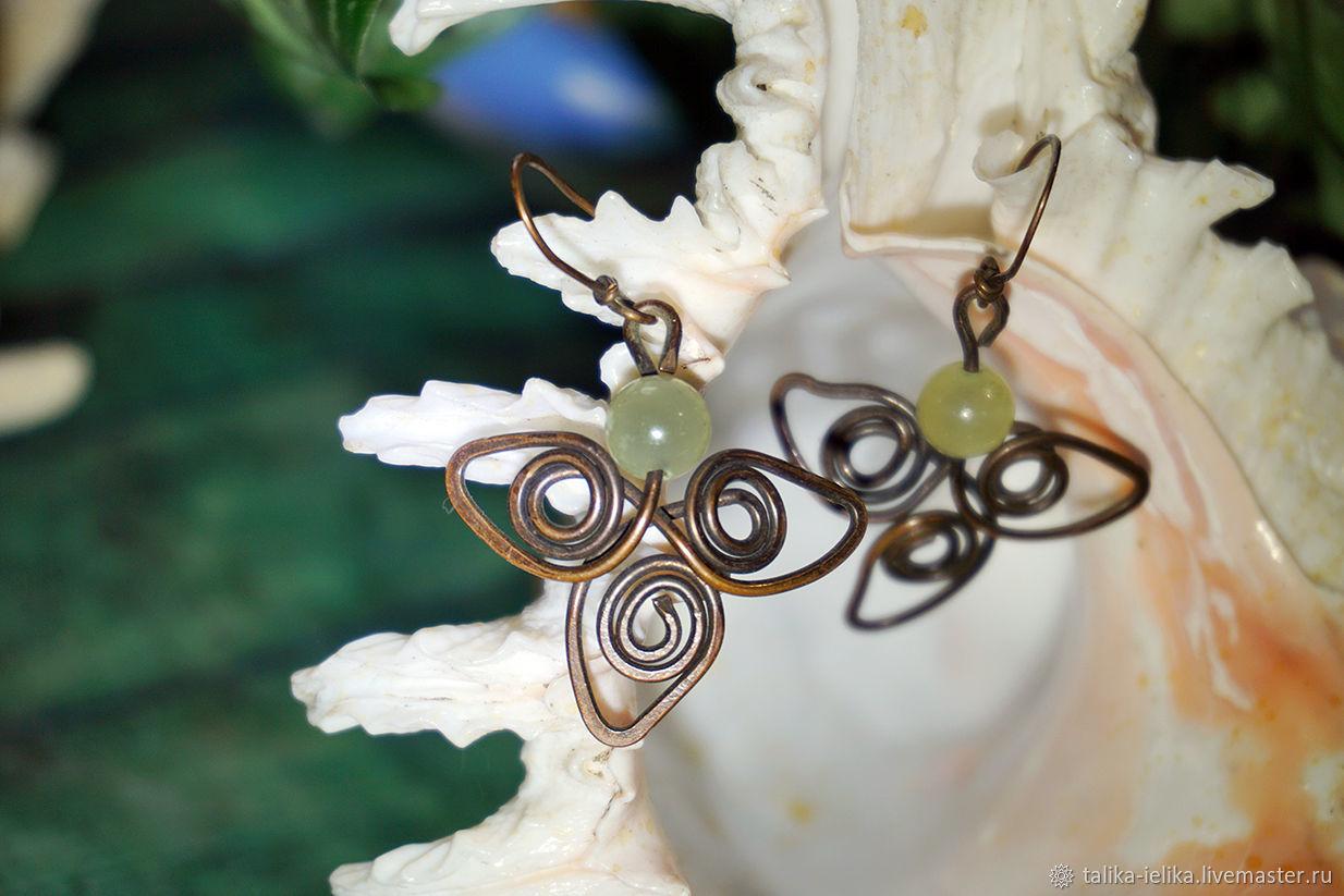 Copper onyx leaf earrings, Earrings, Chelyabinsk,  Фото №1