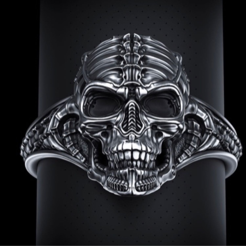 Кольцо «Череп» из серебра с чернением, Кольца, Москва,  Фото №1