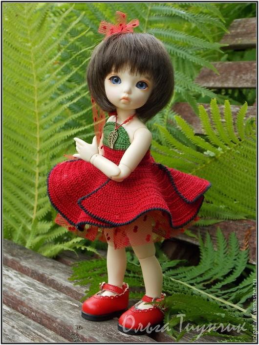 Одежда для кукол ручной работы. Ярмарка Мастеров - ручная работа. Купить Красный мак - платье для куклы. Handmade. Ярко-красный