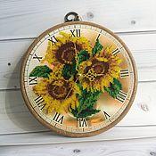 """Для дома и интерьера handmade. Livemaster - original item Wall clock, watch, embroidered, beaded watch """"Sunflowers"""". Handmade."""