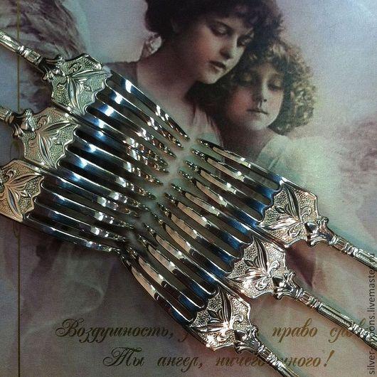 """Серебряные маленькие вилочки для закусок. Набор  """"Ампир"""" (6 закусочных серебряных вилок). Серебряные ложки Скоблинского. Столовое серебро - всегда хороший подарок на свадьбу."""