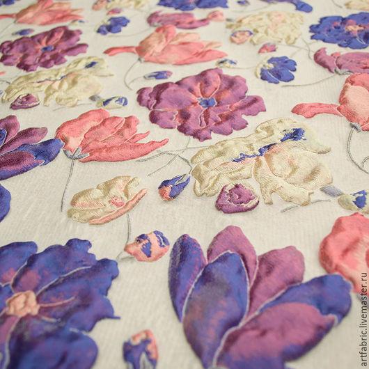Шитье ручной работы. Ярмарка Мастеров - ручная работа. Купить Жаккард с шелком (пурпурные маки) (004694). Handmade. Ткань, пальто