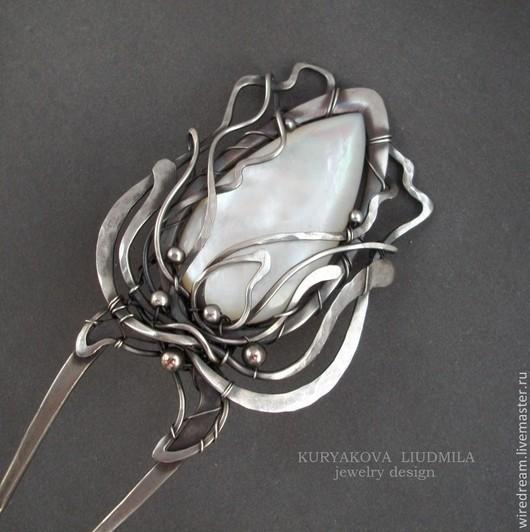 Заколки ручной работы. Ярмарка Мастеров - ручная работа. Купить серебряная шпилька Белая роза. Handmade. Серебряный, шпилька серебро