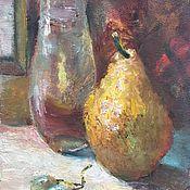 Картины и панно ручной работы. Ярмарка Мастеров - ручная работа Картина маслом. Натюрморт с жёлтой грушей. Handmade.