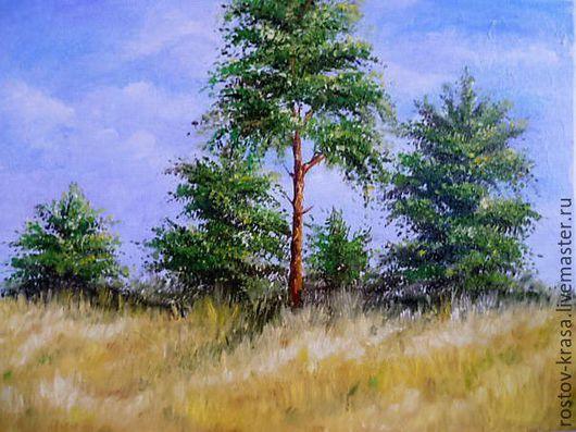 """Пейзаж ручной работы. Ярмарка Мастеров - ручная работа. Купить Картина """"Березовый подлесок"""". Handmade. Картина маслом, лес, зеленый"""