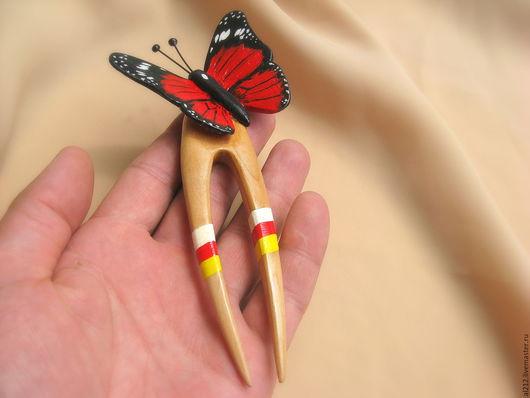 Заколки ручной работы. Ярмарка Мастеров - ручная работа. Купить Заколка Бабочка. Handmade. Заколка бабочка, красная, комбинированный