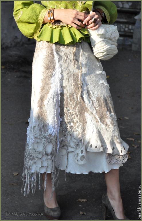 """Купить Юбка """"Август"""" - бежевый, юбка длинная, юбка в стиле бохо, юбка валяная"""