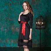 Одежда ручной работы. Ярмарка Мастеров - ручная работа Вечернее черное маленькое платье с кружевом. Handmade.