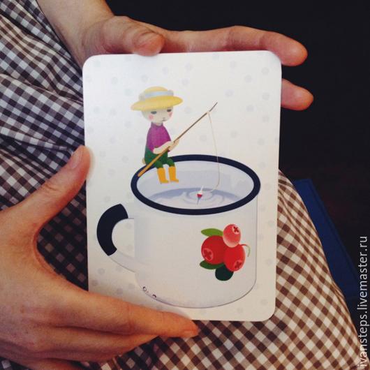 """Открытки на все случаи жизни ручной работы. Ярмарка Мастеров - ручная работа. Купить открытка """"чашка"""". Handmade. Открытка, чашка, горошек"""