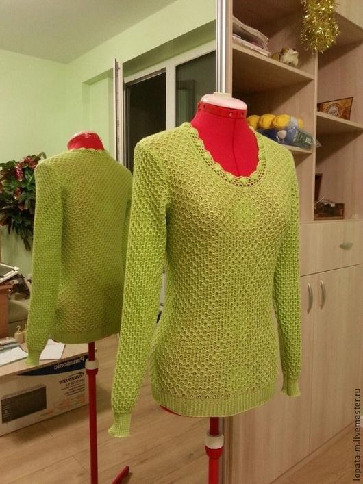 Кофты и свитера ручной работы. Ярмарка Мастеров - ручная работа. Купить Пуловер вязаный на машинке. Handmade. Разноцветный, knitting, зеленый