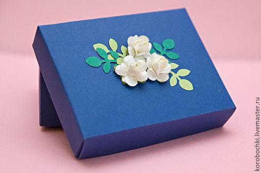 Подарочная упаковка ручной работы. Ярмарка Мастеров - ручная работа. Купить Коробочка подарочная 9х7х4 см. Handmade. Тёмно-синий
