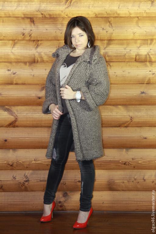 """Верхняя одежда ручной работы. Ярмарка Мастеров - ручная работа. Купить Пальто вязанное двустороннее """"Мышка"""". Handmade. Серый, молодежное"""