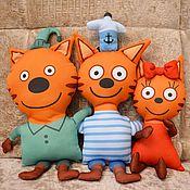 Мягкие игрушки ручной работы. Ярмарка Мастеров - ручная работа Герои мульта три кота. Handmade.