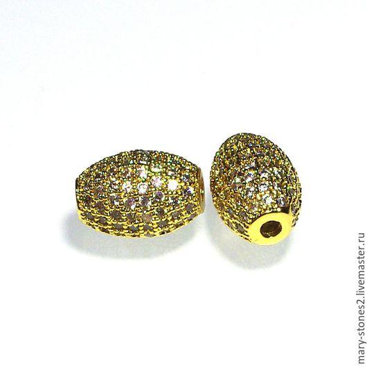 Для украшений ручной работы. Ярмарка Мастеров - ручная работа. Купить Бусина с фианитами, желтое золото (Milano). Handmade.