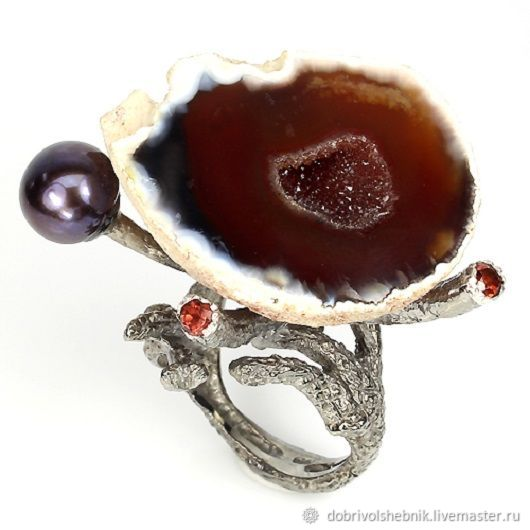 super! Stylish grotesque ring with caramel agate Geode, Rings, Novaya Usman,  Фото №1