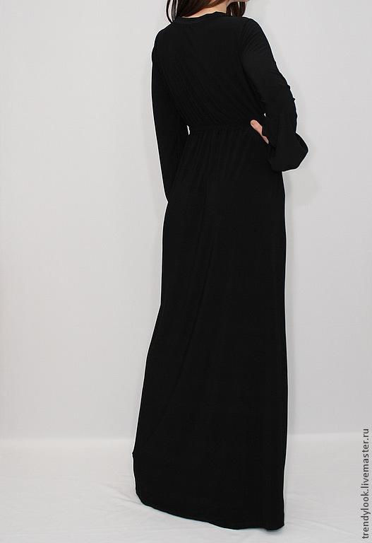 Длинное Черное Платье В Пол С Длинным Рукавом Купить