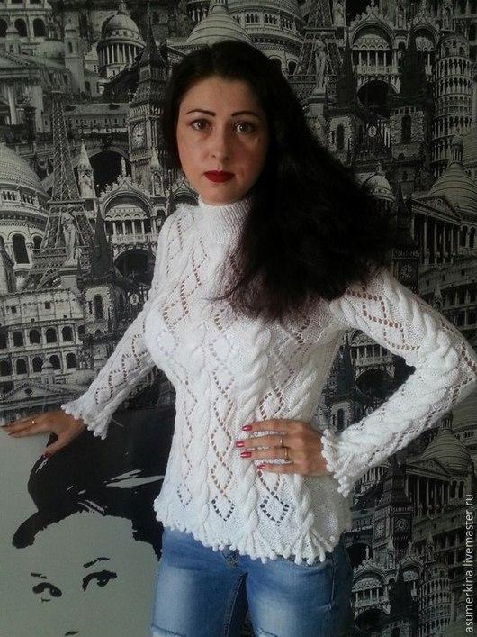 Кофты и свитера ручной работы. Ярмарка Мастеров - ручная работа. Купить Свитер Ажур и косы. Handmade. Белый, свитер женский