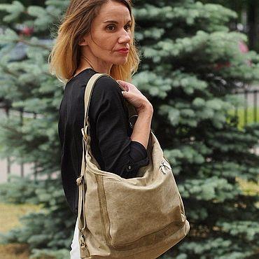 Bags and accessories handmade. Livemaster - original item Massandra.  Bag-backpack-olive leather, crazy horse. Handmade.