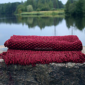 Аксессуары handmade. Livemaster - original item Burgundy scarf-carpet. Handmade.