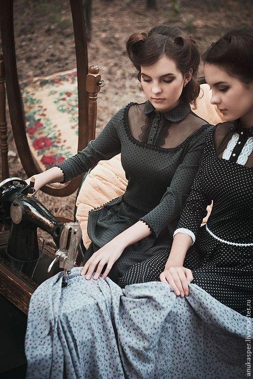 """Платья ручной работы. Ярмарка Мастеров - ручная работа. Купить платье в пол """"Черное в белый горошек"""". Handmade. Платье нарядное"""